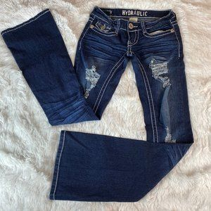 Hydraulic Distressed Bailey Bootcut Jeans